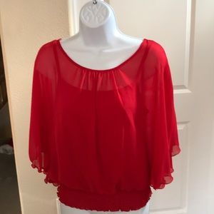 BCX Cherry Red Over Blouse with Tank Top